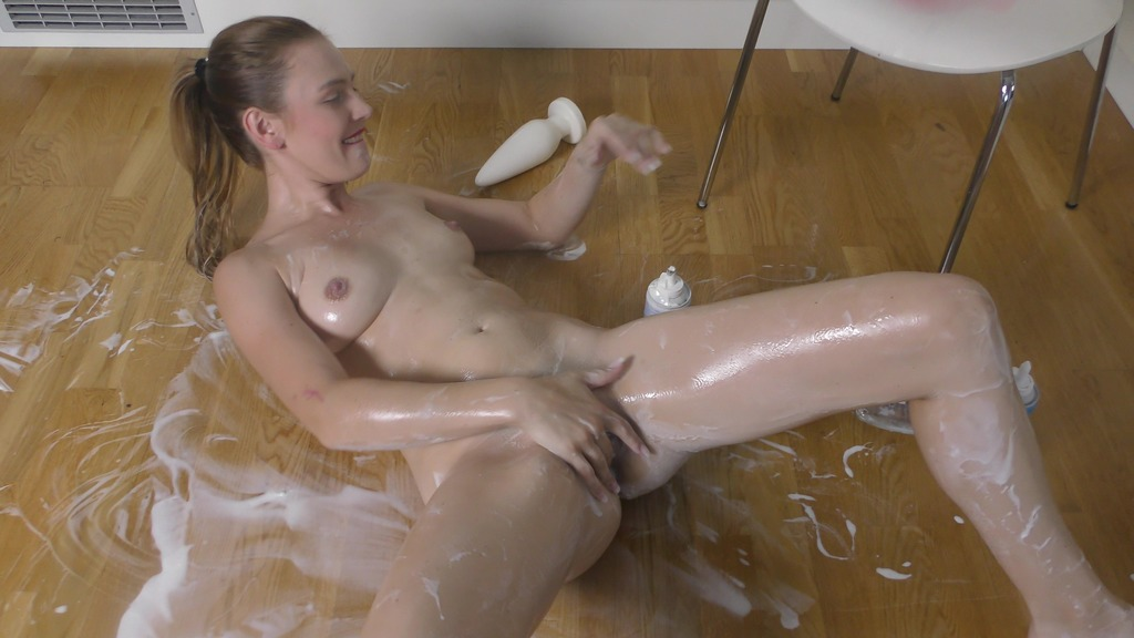 Timea Bella fills her ass with whipped cream, masturbation with huge toys, oil TB025