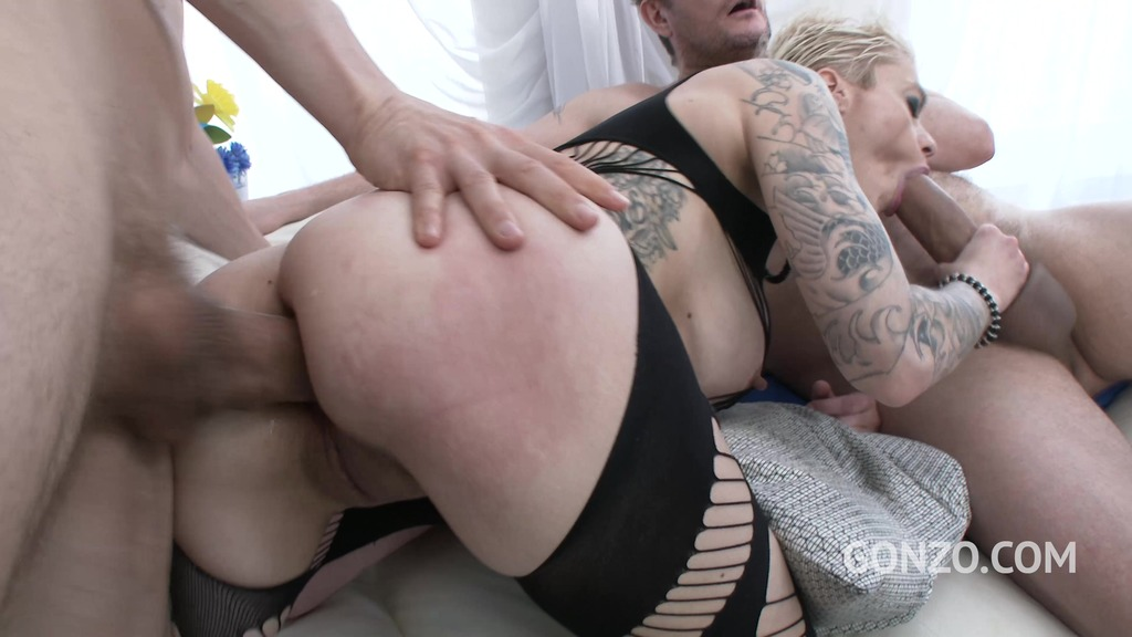 Busty milf Mila Milan takes on 4 cock and does double anal SZ1728