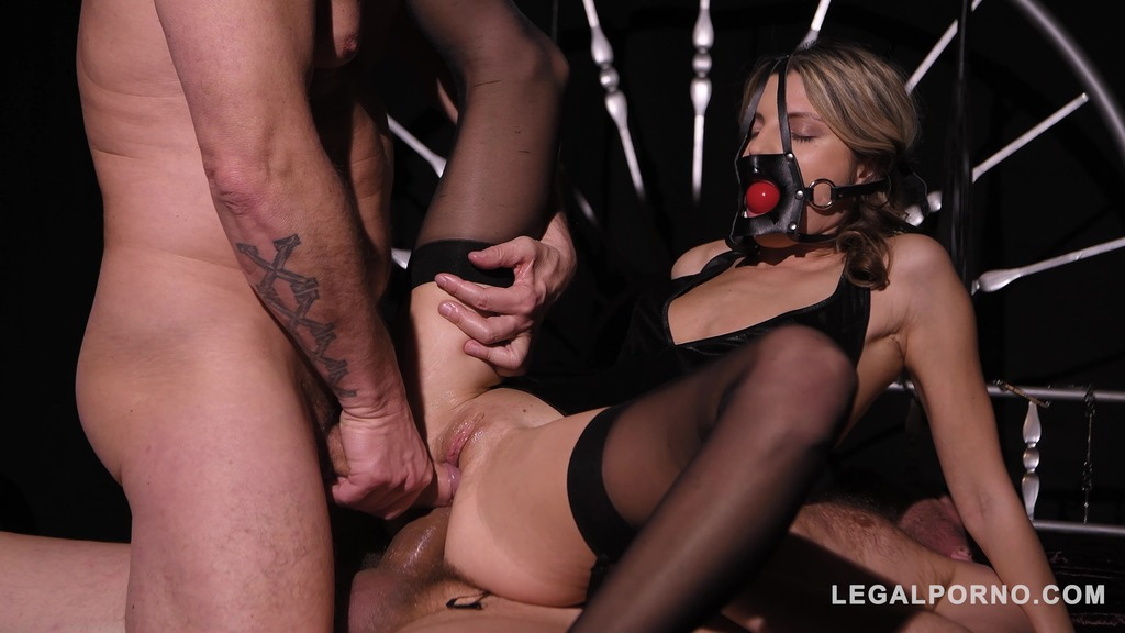 Petite blonde Gina Gerson handcuffed, gagged & fucked by two doMina K Medinant studs GP545