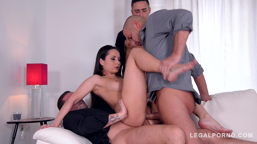 Aurelly Rebel swallows three dicks after DP orgy