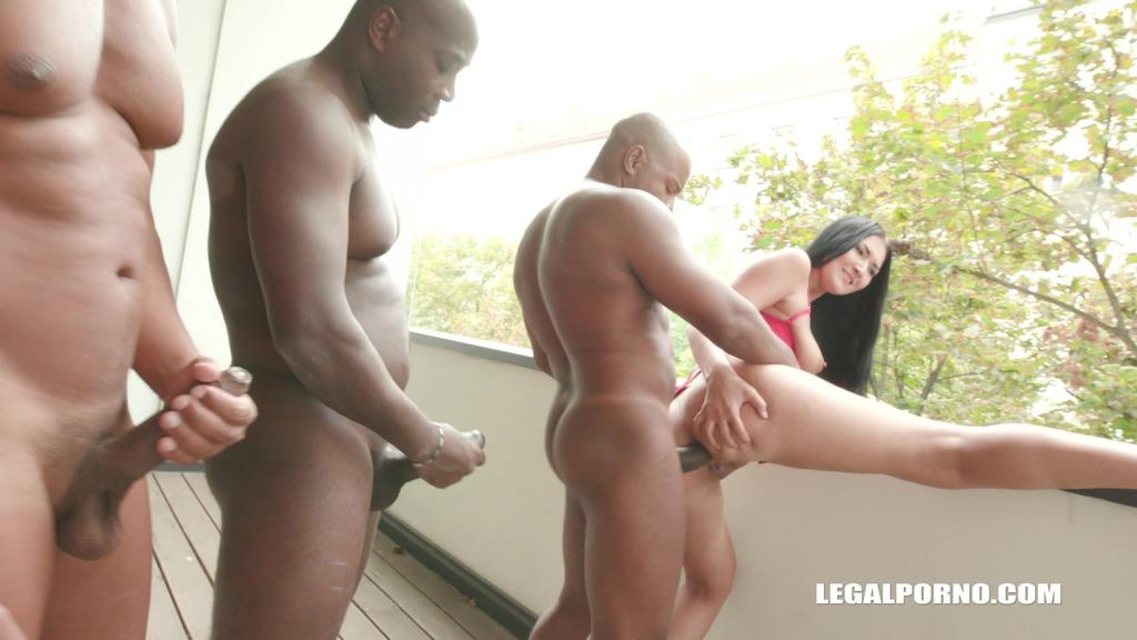 Vanessa Vaughn has fun with 3 black guys & balls deep anal IV212