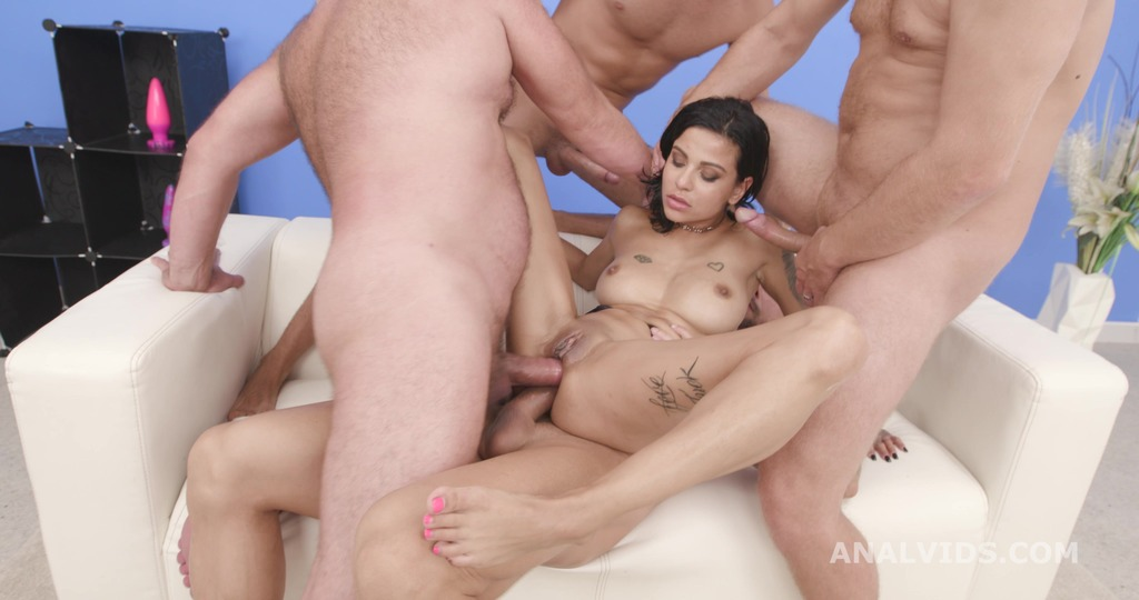 Naked Barefoot with TP and Squirt, Sandra Soul, 4on1, BWC, DAP, TP, Gapes, Squirt Drink, Cum in Mouth, Swallow GIO1919
