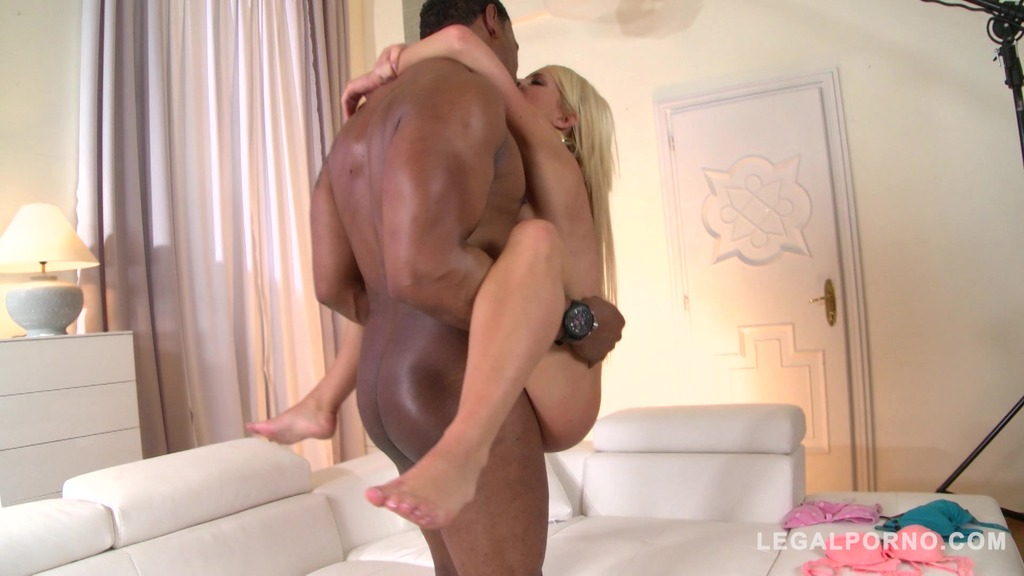 Blonde stunner Kiara Lord takes big black monster cock up her tight pussy GP715