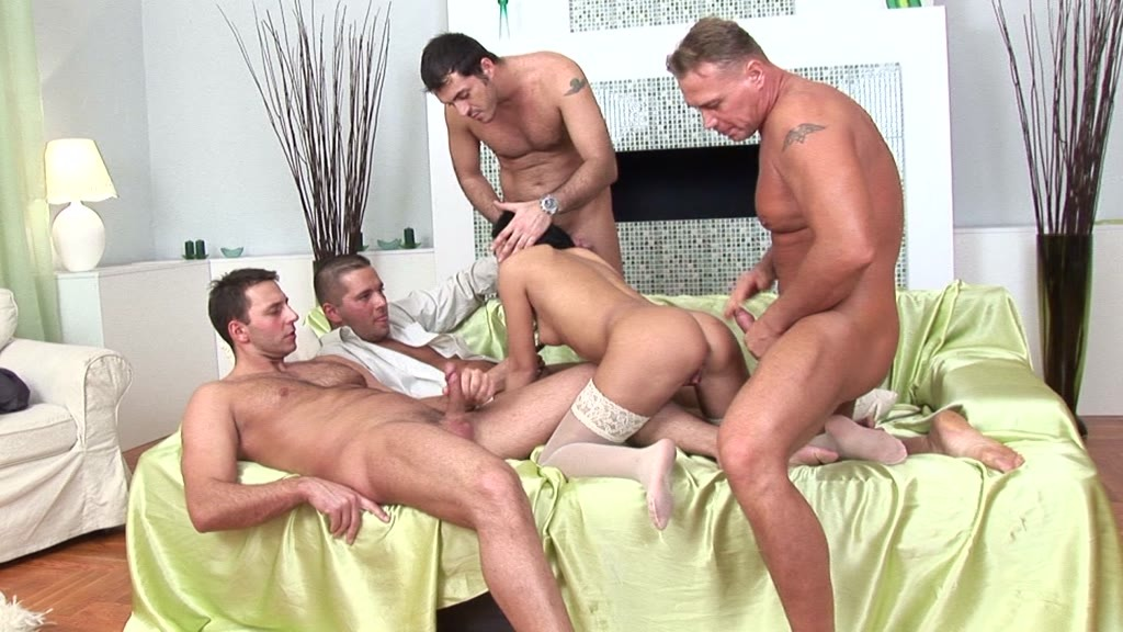 Covy Baby gets DP'd while multidick sucking two cocks in bukakke gangbang GP1294