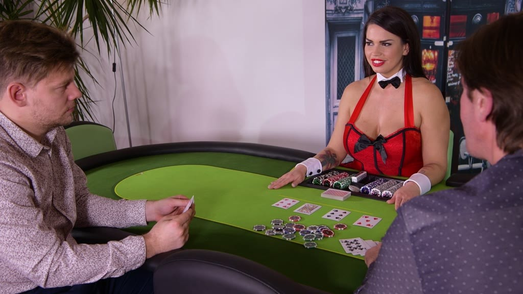 Ever-horny card dealer Chloe Lamour's ass & pussy double penetrated by 2 gentlemen GP1114