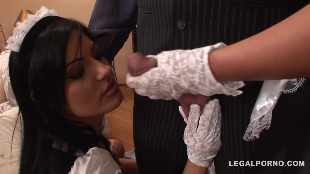 Irresistible French maids Lulu & Nataly Colt share lucky stud's big dick GP194