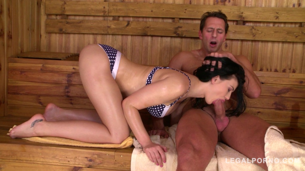 Horny college student Lucy Li rides his dick on the sauna bench for cumshot GP817
