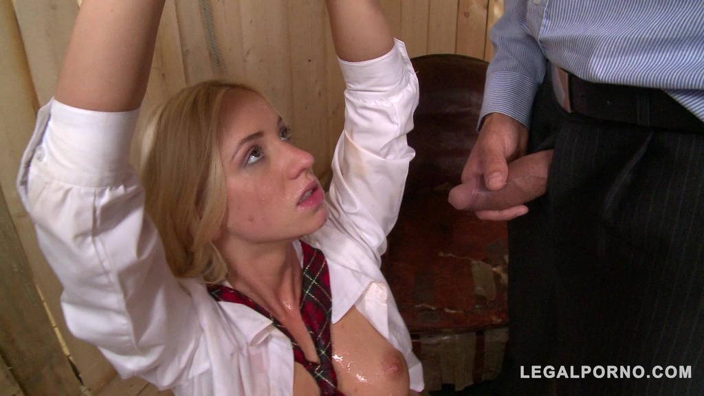 Blonde BDSM slut Kiara Lord tied up & pissed all over while sucking cock GP723