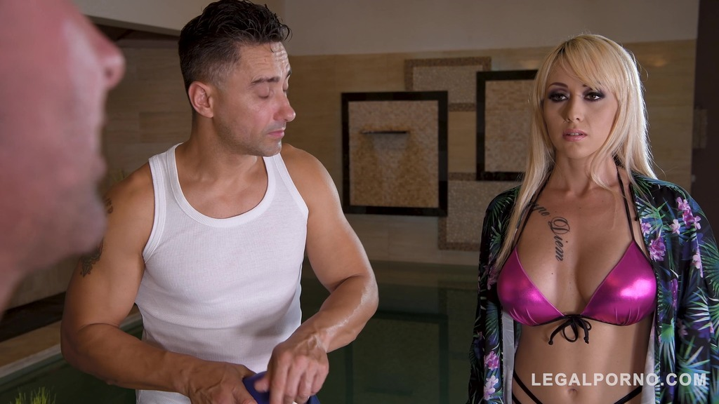Blonde glamour babe Christina Shine licked, fucked and DP'ed by two studs GP139