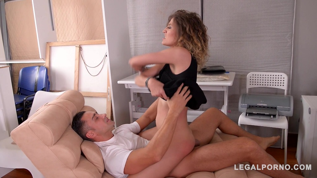 Workman fucks slim Russian bombshell Stasy Riviera's shaved pussy real hard...
