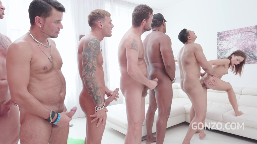 Mina assfucked by 1, 2, 3, 4 guys and then gangbanged by all 10 of them SZ2290