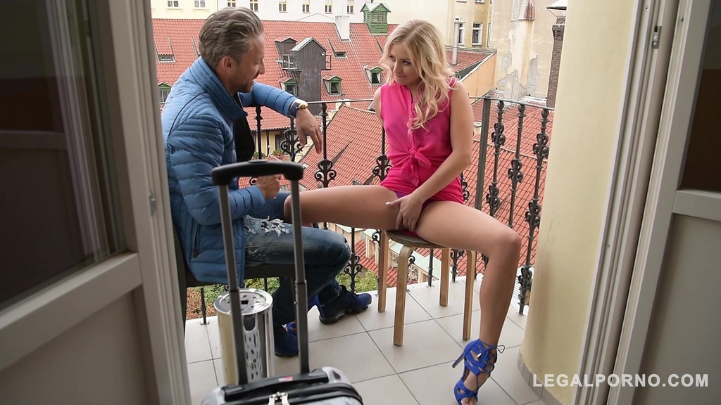 Hot blondie Cayla Lyons gets her shaved & tasty pussy drilled doggy style GP232