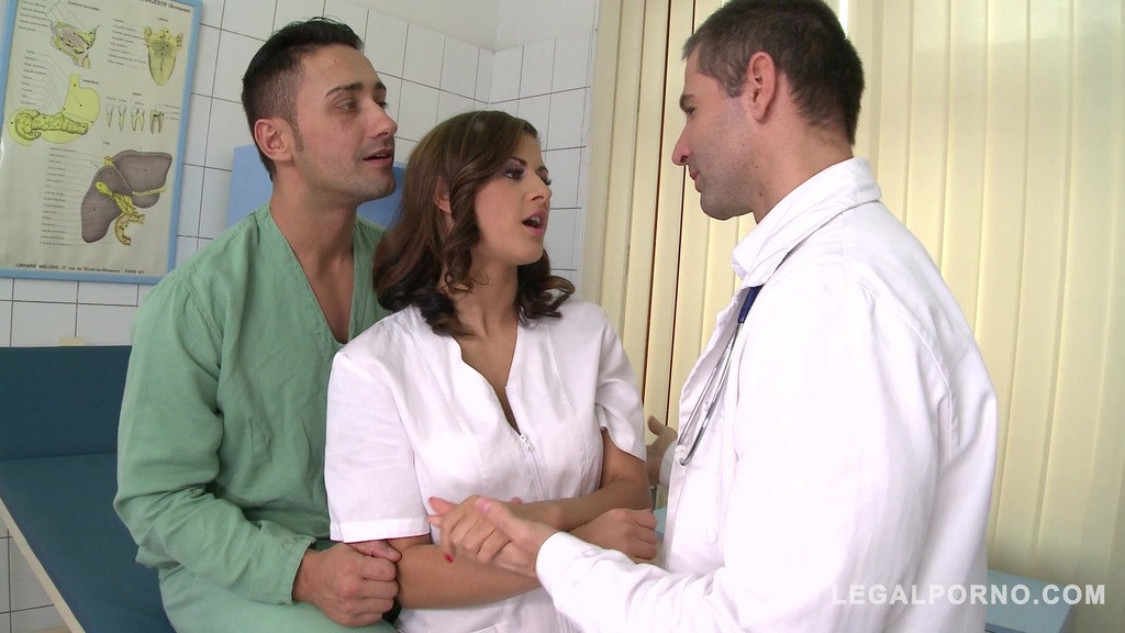 Threesome at the Hardcore clinic with nurse Billy Star stuffed by two Docs GP854