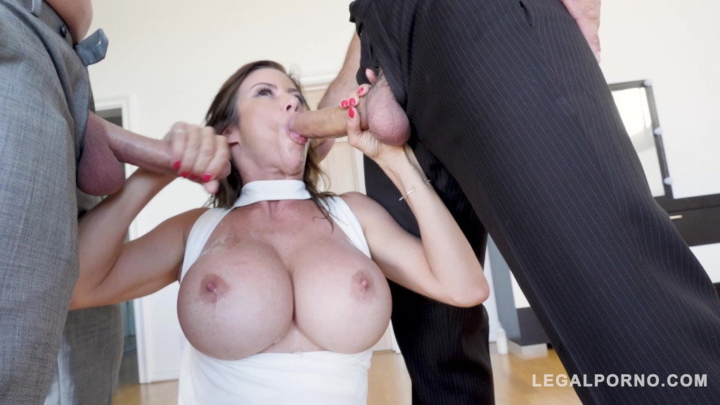 Horny kinkster Alexis Fawx fucked by daddy & son for loads of white cum GP439