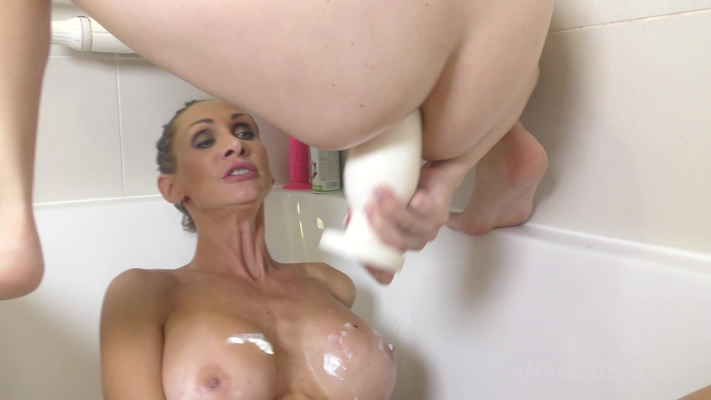 Timea Bella & Cynthia Vellons take shower with whipped cream and dildos TB022