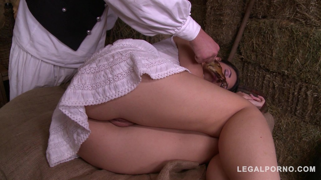 Watch insatiable peasant Jess West being fucked real hard in the shed GP729