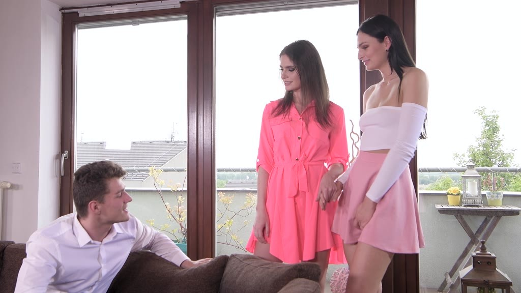 Horny coeds Lana Seymour and Lee Anne take turns riding cock in threesome GP1232