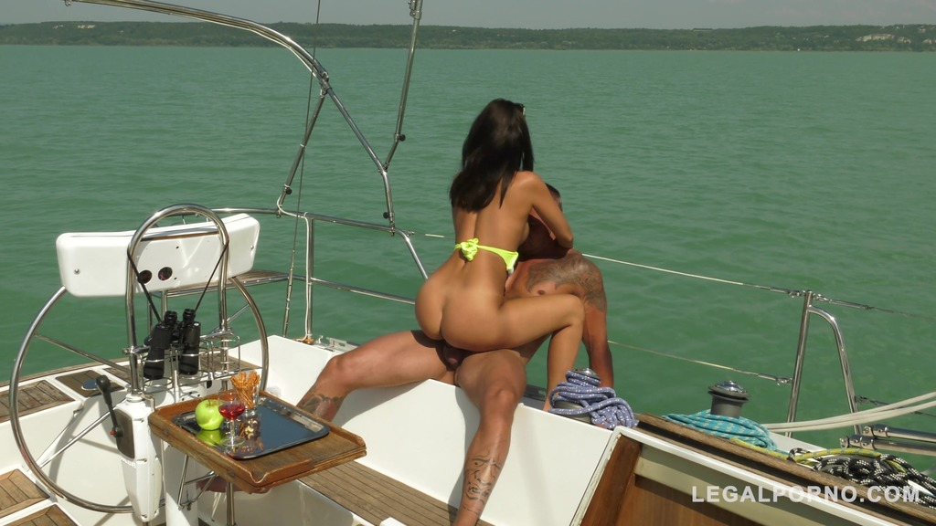 Sailor Vicky Love rides his huge cock on the boat