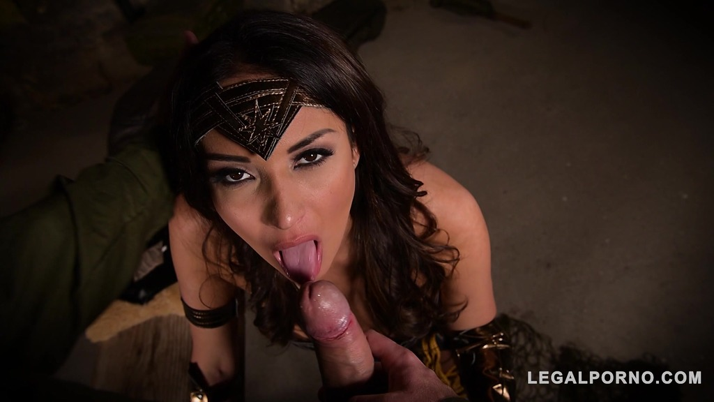 Super sexy Wonder Woman Anissa Kate spreads her hot legs for intensive fuck...