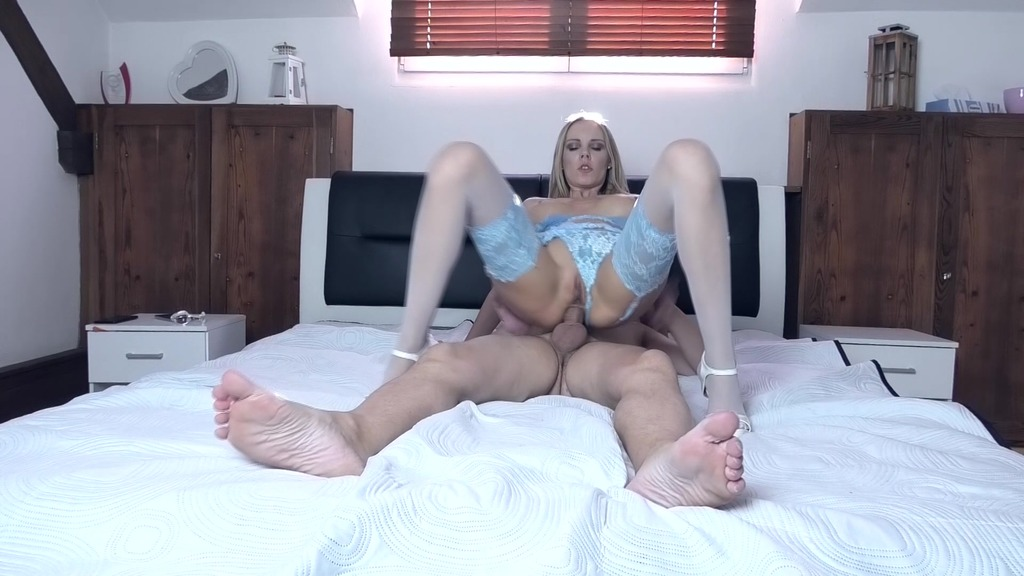 Blonde Florane Russell in sexy blue lingerie anal fucking at home OTS221