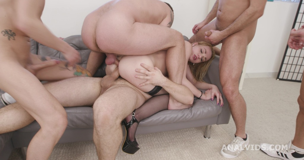 Monster on TAP goes Wet, Rebecca Sharon 5on1 Balls Deep Anal, DAP, TAP, Gapes, ButtRose, Pee and Swallow GIO1759