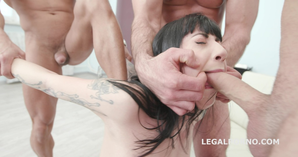 Gagland, Charlotte Sartre gets Gagged & Manhandled by 4 guys with Facial GIO970