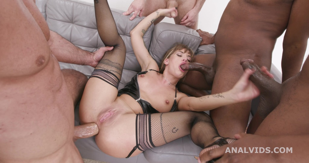 Silvia Dellai 4on1 with Balls Deep Anal, DAP, Gapes and Swallow GIO1825