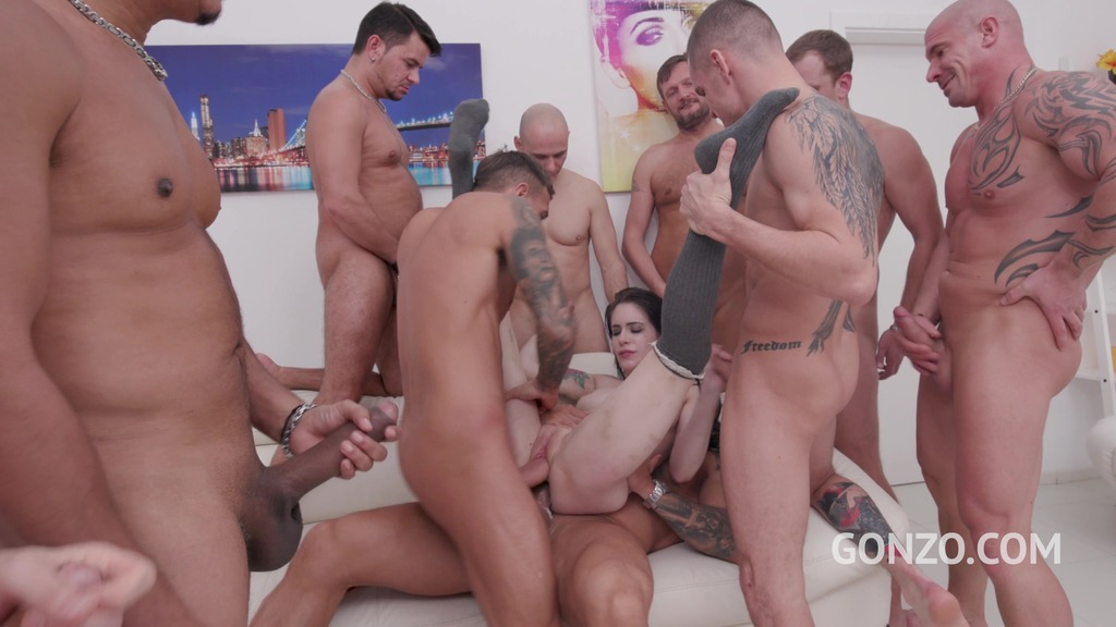 Anna de Ville assfucked by 2, 3, 4, 5 guys and then gangbanged by all 10 of...