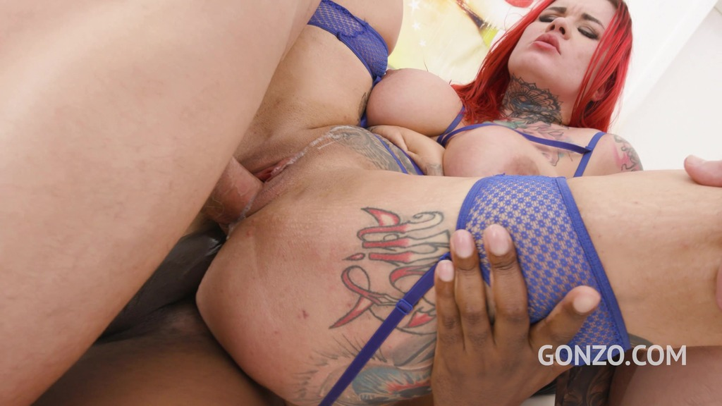 Curvy slut Sabien Demonia assfucked 4on1 with DP & DAP SZ2656