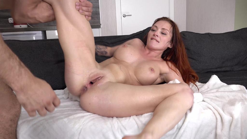 NEW SCENE!!! DP redhead Lelya Mult - Return in Porn - Hard Anal Fuck - Squirting + Gagging VK087