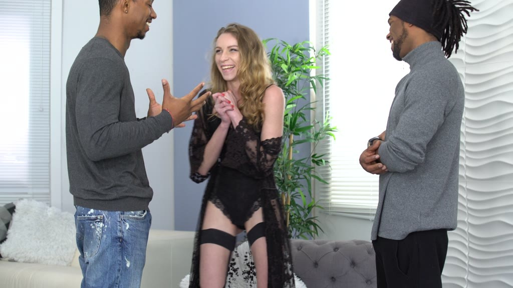 Wild Slender French Chick Angel Emily Cucks Her Hubby with 2 BBCs & then He Joins In GP1771