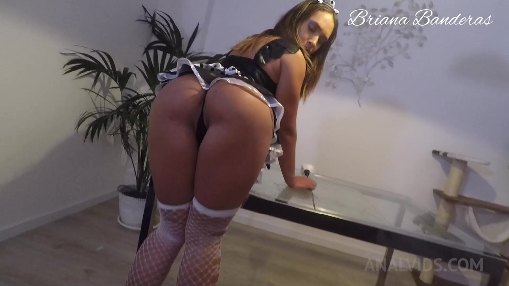 POV Bad maid get punished with butt plugs in ass, cock in pussy and cum in...
