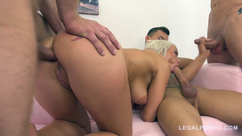 Hot blonde Licky Lex fucked by 3 guys & DP'ed 3on1 FM006